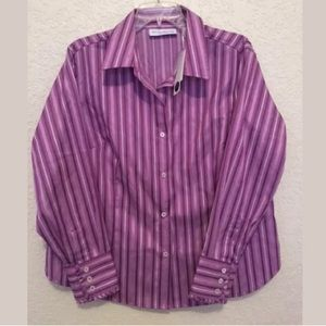 😎3 for $15 Long Sleeve Button Front Stripe Blouse